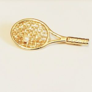 🆕️ Gold Tennis Racket and Pearl Brooch